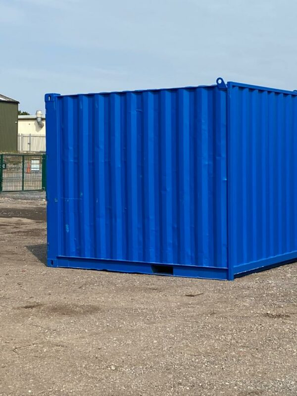 10ft Used Container Painted Blue with Lockbox for sale UK delivery