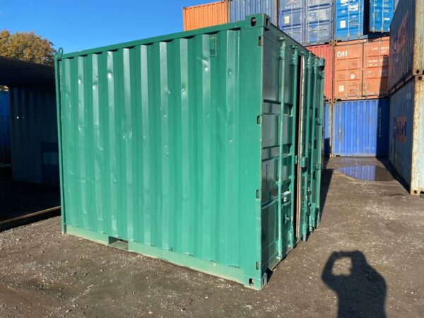 10ft Used Container Painted Green with Lockbox UK