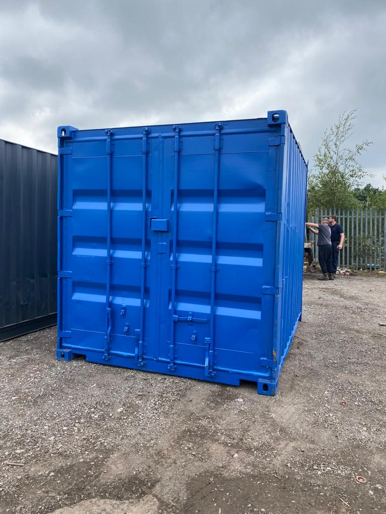 10ft Used Container Aberdeen Painted Grey with Lockbox in Scotland