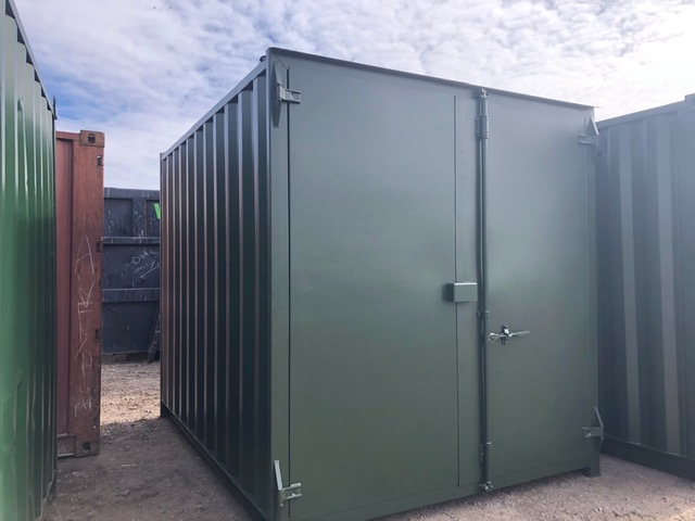 10ft Used Containers Green with Flat Panel Doors UK for sale