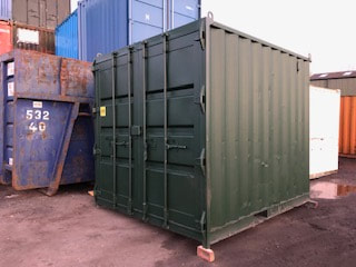 10ft Used Containers UK in Green with Original Doors for sale
