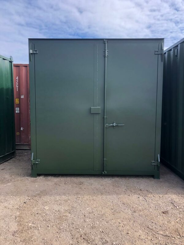 10ft Used Containers in Green with Lockbox side view for sale