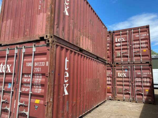 20ft Used Shipping Container for sale Brown Stacked