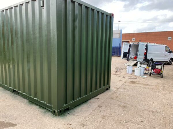 20ft Used Shipping Container for sale Repainted in Green Leeds UK
