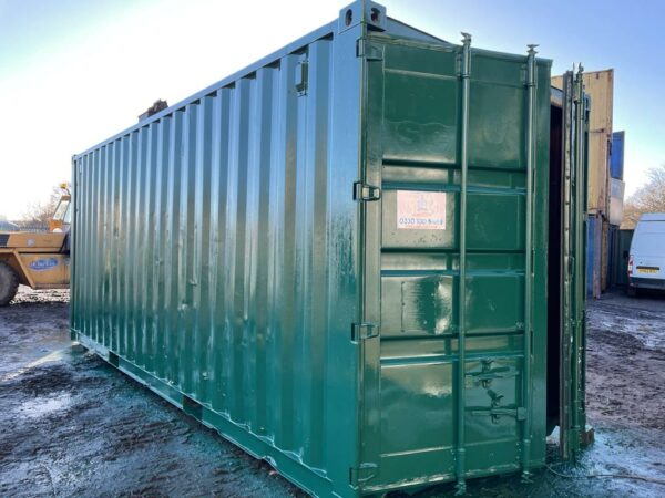 20ft Used Steel Container rePainted in Green Sheffield