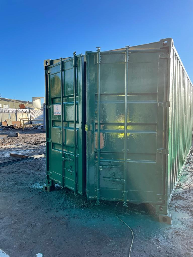 20ft Used Storage Container for sale rePainted in Green