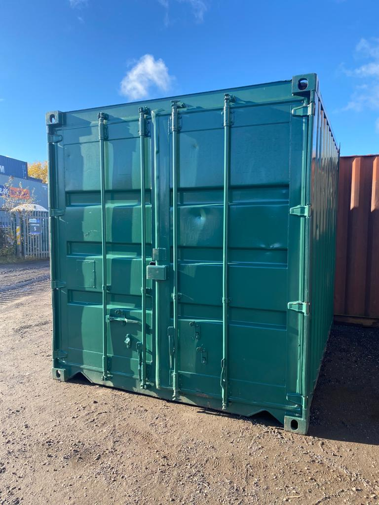 20ft Used Storage container rePainted in Green with Lockbox