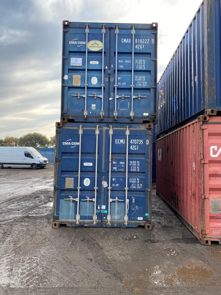 40ft Used Containers for Sale UK in blue stacked