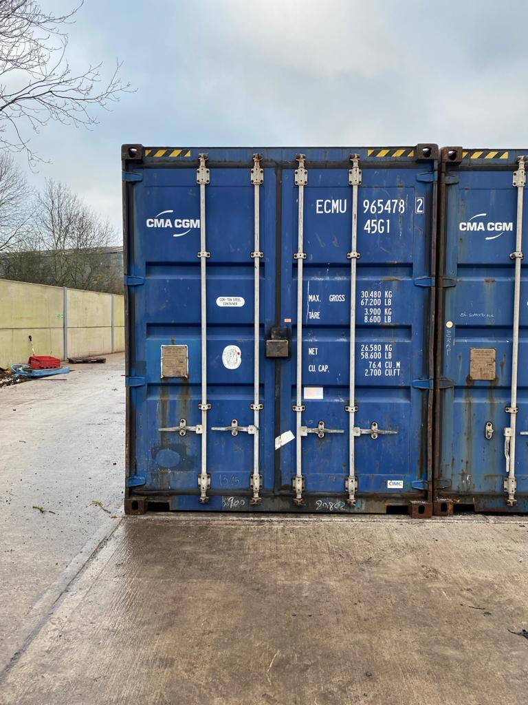 40ft Used High Cube Container for sale in blue - doors