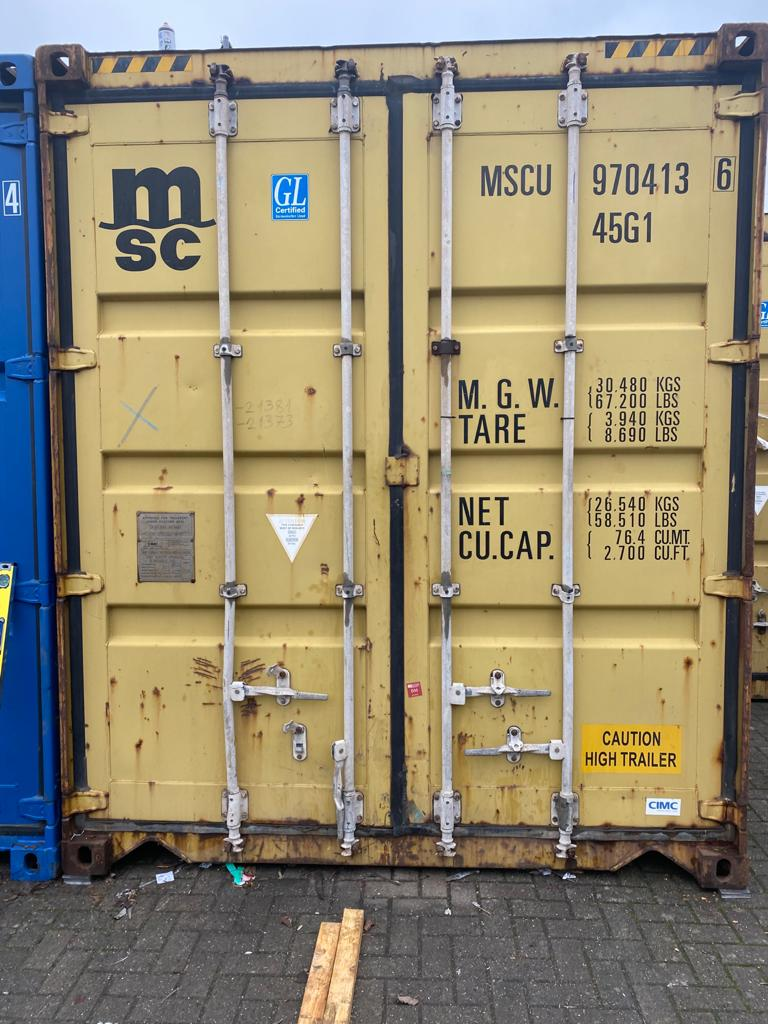40ft Used High Cube Storage Containers for sale UK doors in harvest gold