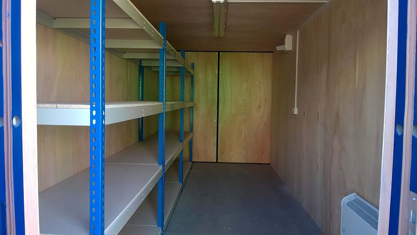 40ft modified storage container with Shelving uk