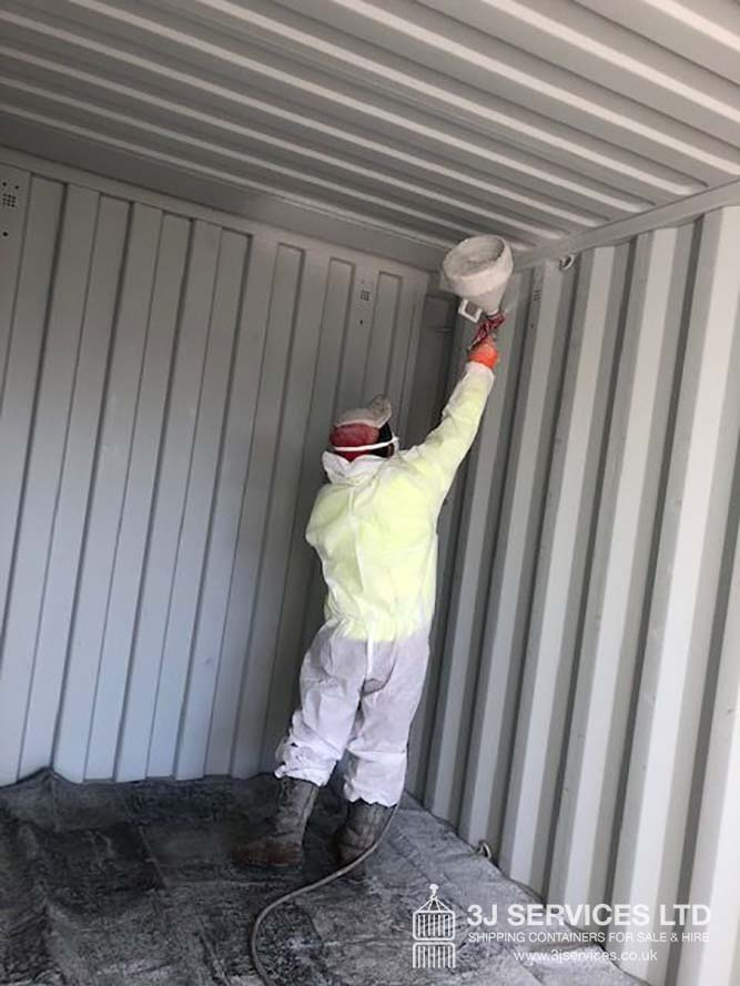 shipping container modification with Grafo-Therm internal sealing uk