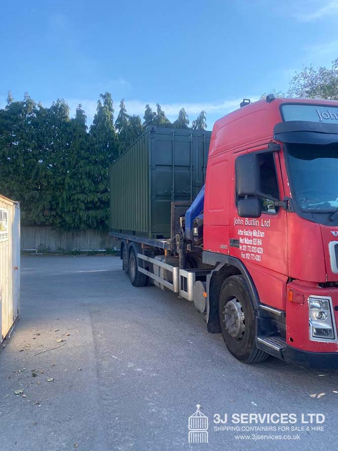 shipping container with Leyton Delivery and London