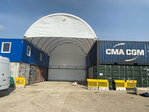 20ft storage container site with canopy uk