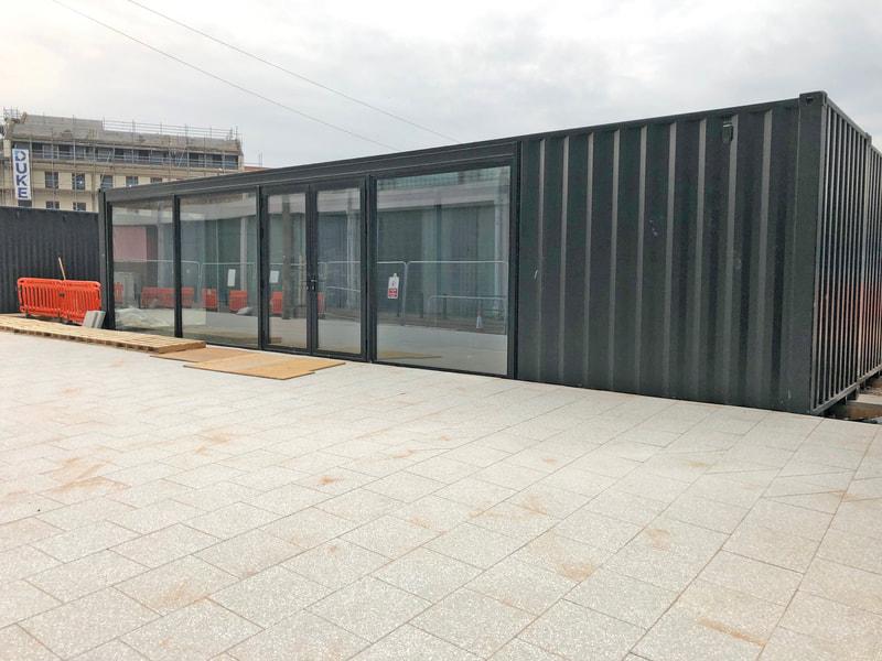 aluminium glazed doors for container office
