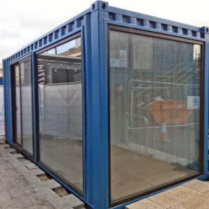 bespoke aluminium glazed doors for shipping container