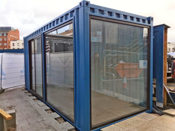 bespoke aluminium glazed doors for shipping container