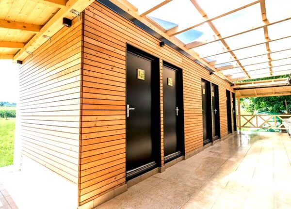 container toilet timber cladding