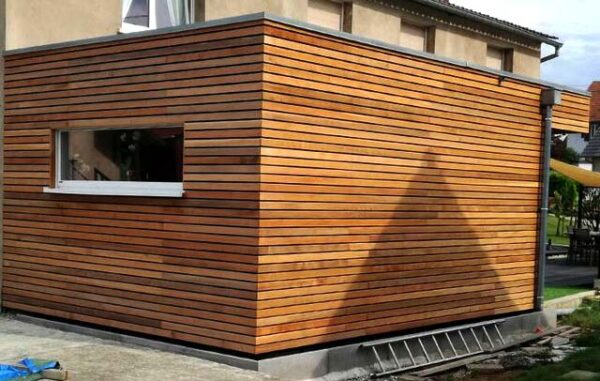 modified shipping container with timber cladding uk
