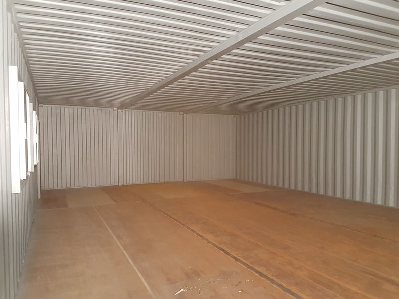 modified container workshop interior
