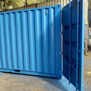 painted blue used shipping container uk