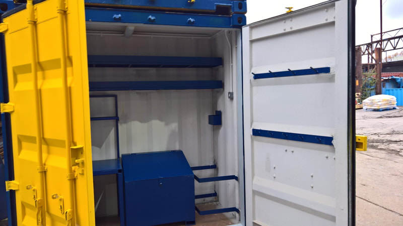 site workshop and test lab cube container coversion in coventry