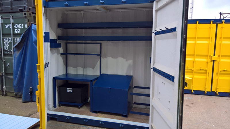 cube shaped site workshop and test lab shipping container delivered to coventry